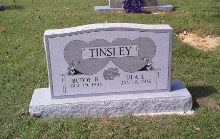 Headstone for Buddy and Ula Tinsley