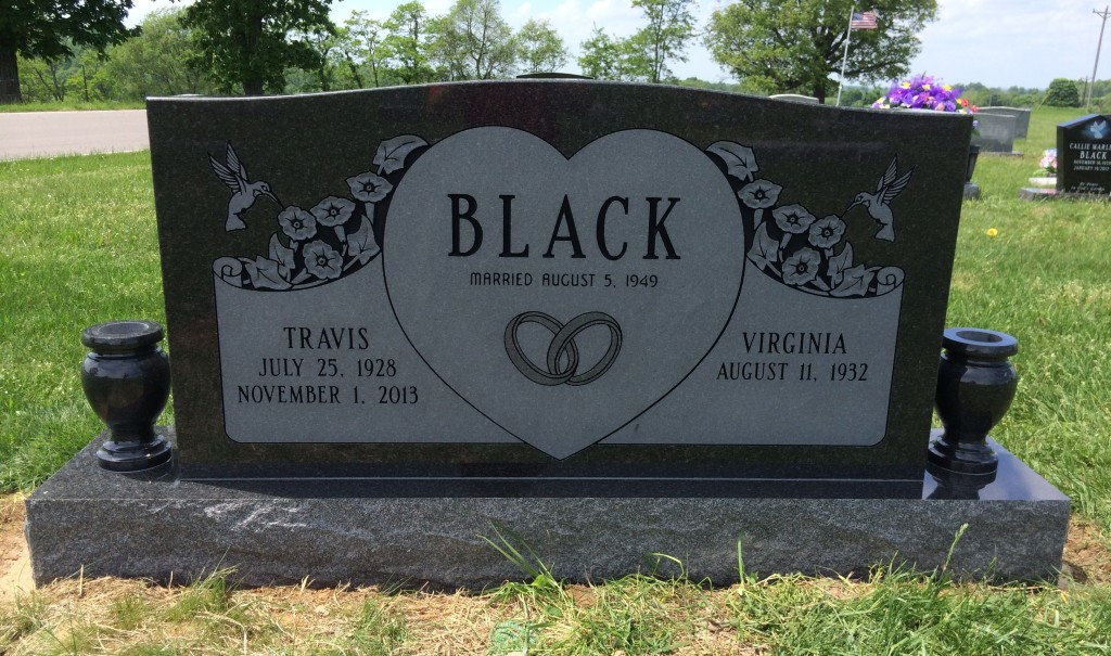 Headstone for Travis and Virginia Black