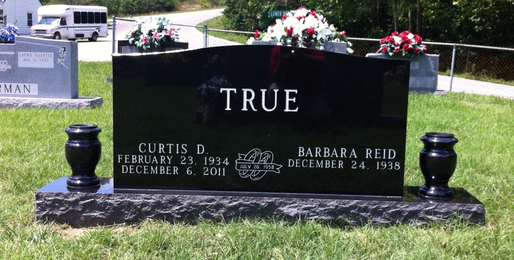 Headstone for Curtis and Barbara True