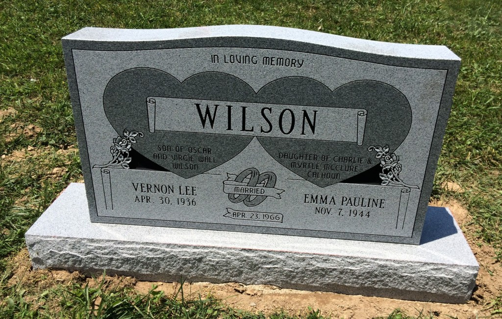 Headstone for Vernon and Pauline Wilson