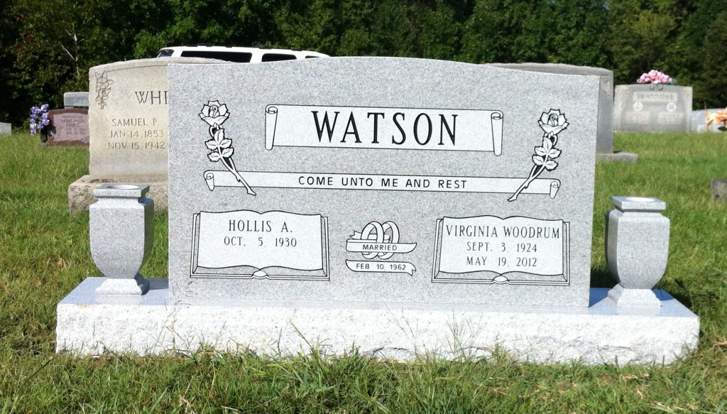 Headstone for Hollis and Virginia Watson
