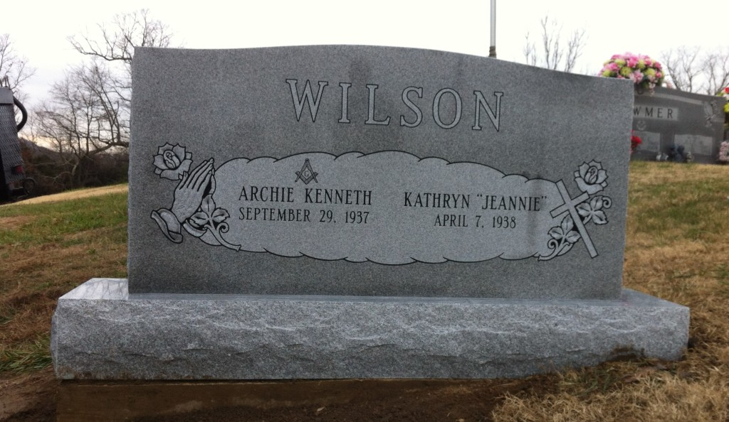 Headstone for Archie and Jeannie Wilson