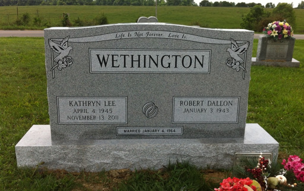 Headstone for Robert and Kathryn Wethington