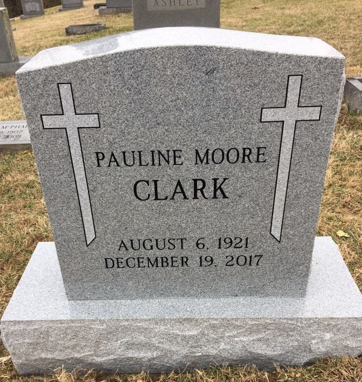 Headstone for Pauline Moore Clark
