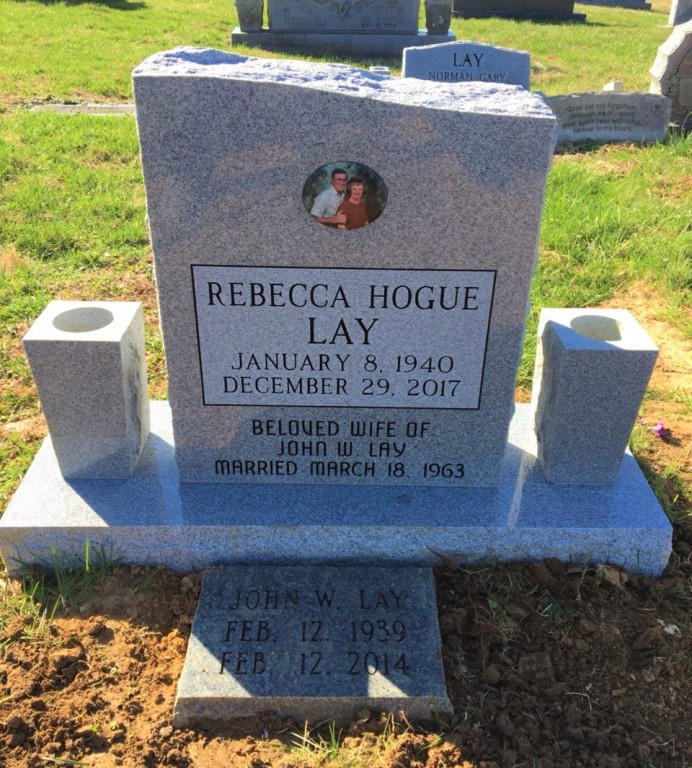 Headstone for Rebecca Hogue Lay