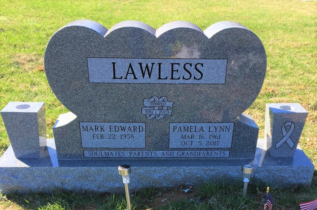 Headstone for Mark and Pam Lawless