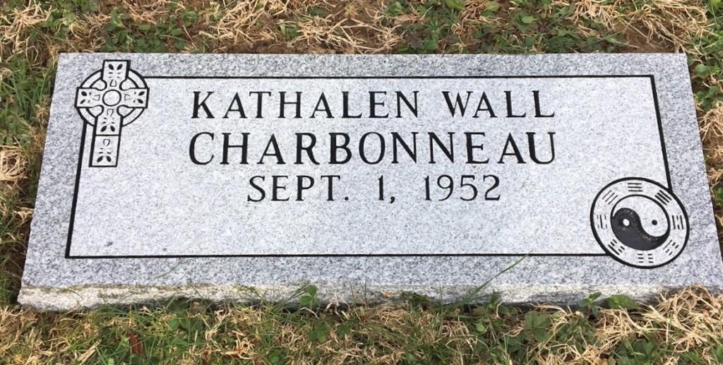 Flat granite marker for Kathalen Charbonneau