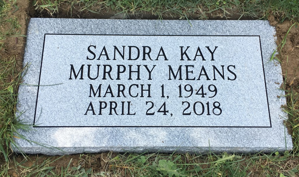 Flat granite marker for Kay Means