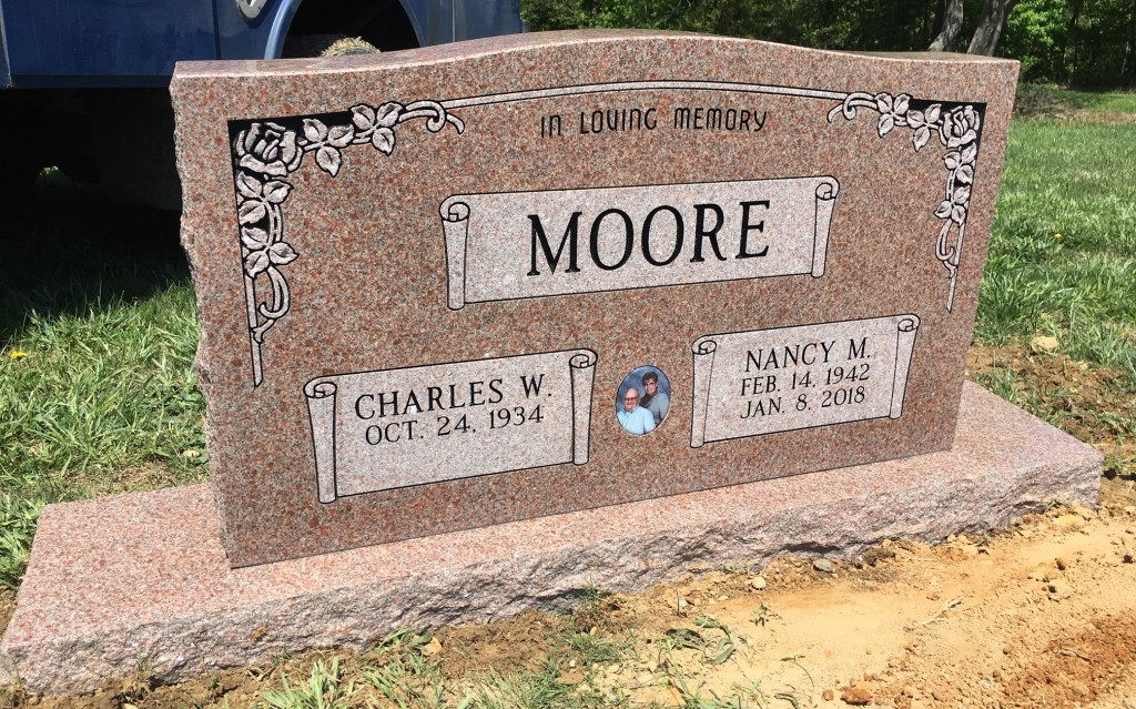 Headstone for Charles and Nancy Moore