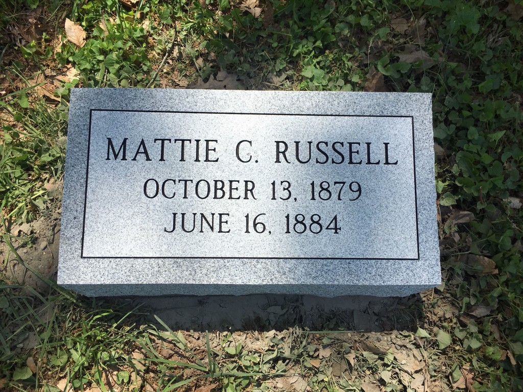 Bevel granite marker for Mattie Russell
