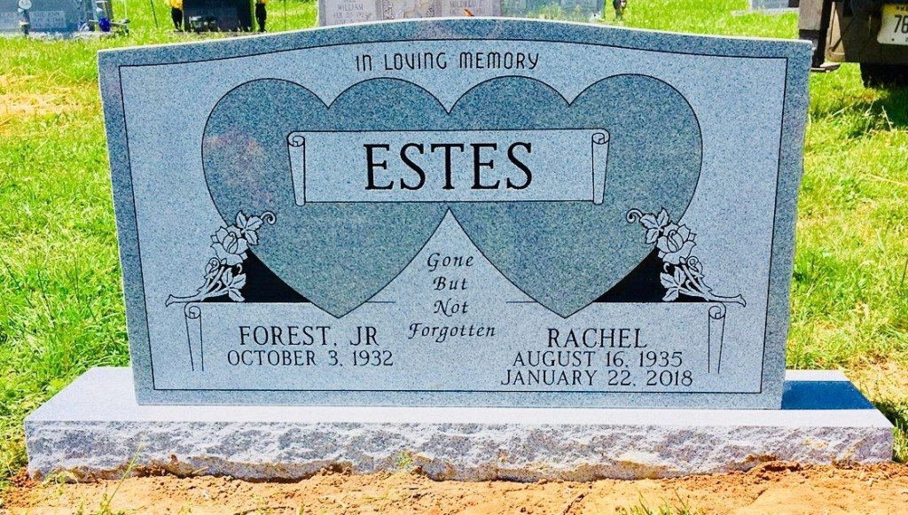 Headstone for Forest and Rachel Estes