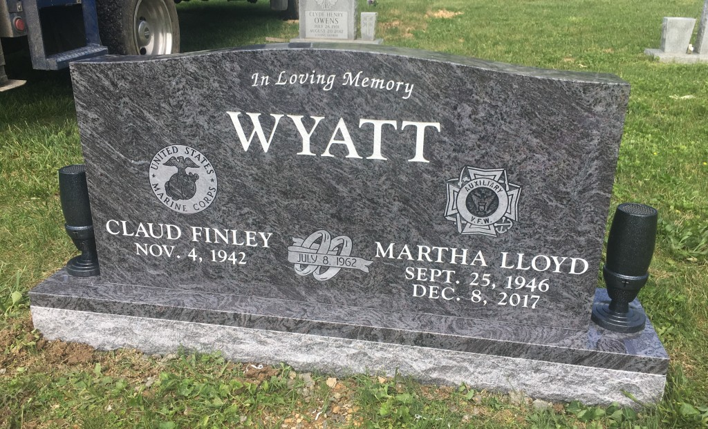 Headstone for Claud and Martha Wyatt