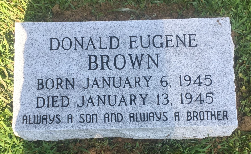 Granite marker for Donald Eugene Brown