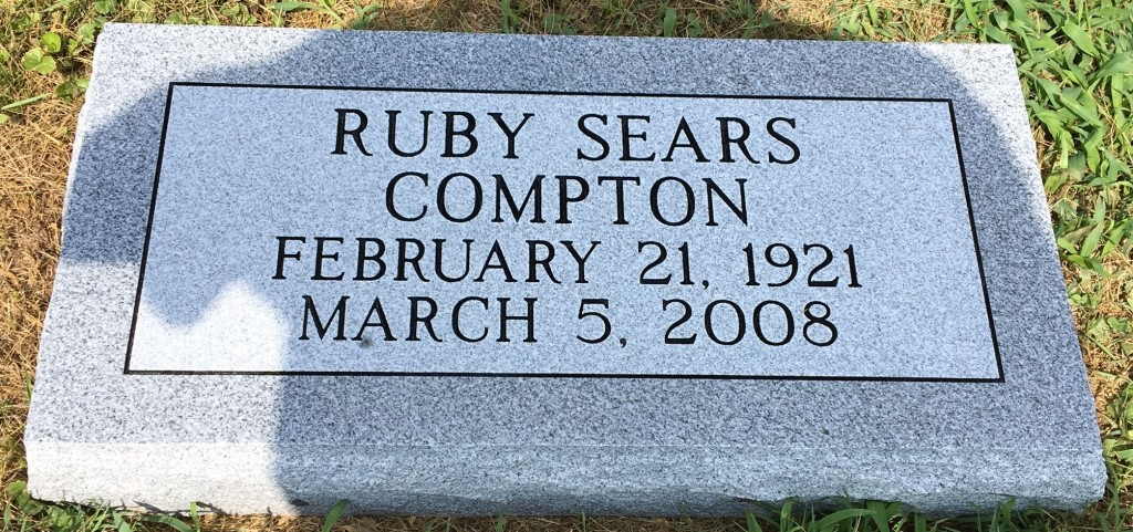 Flat granite marker for Ruby Sears Compton