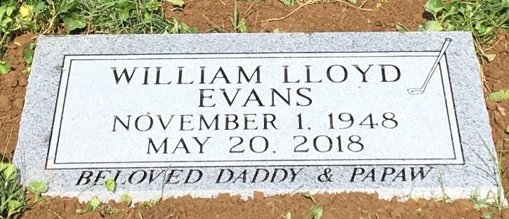 Flat granite marker for William Lloyd Evans