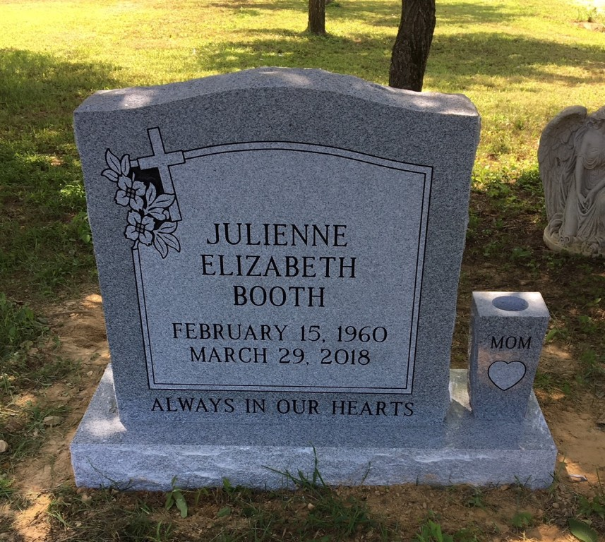Headstone for Julienne Booth