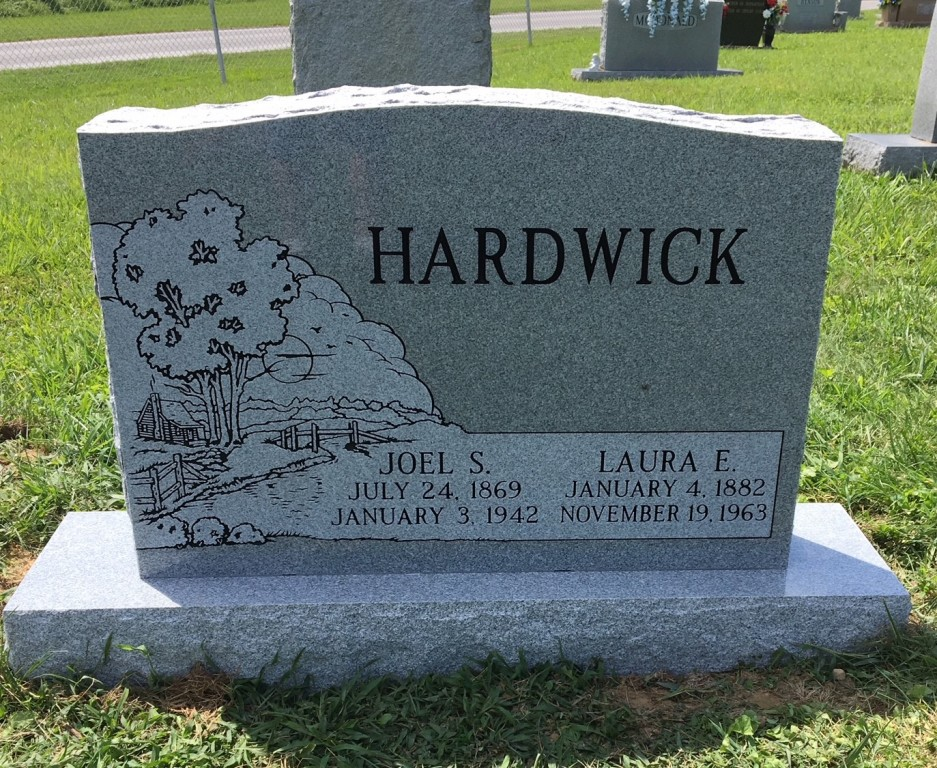 Headstone for Joel and Laura Hardwick