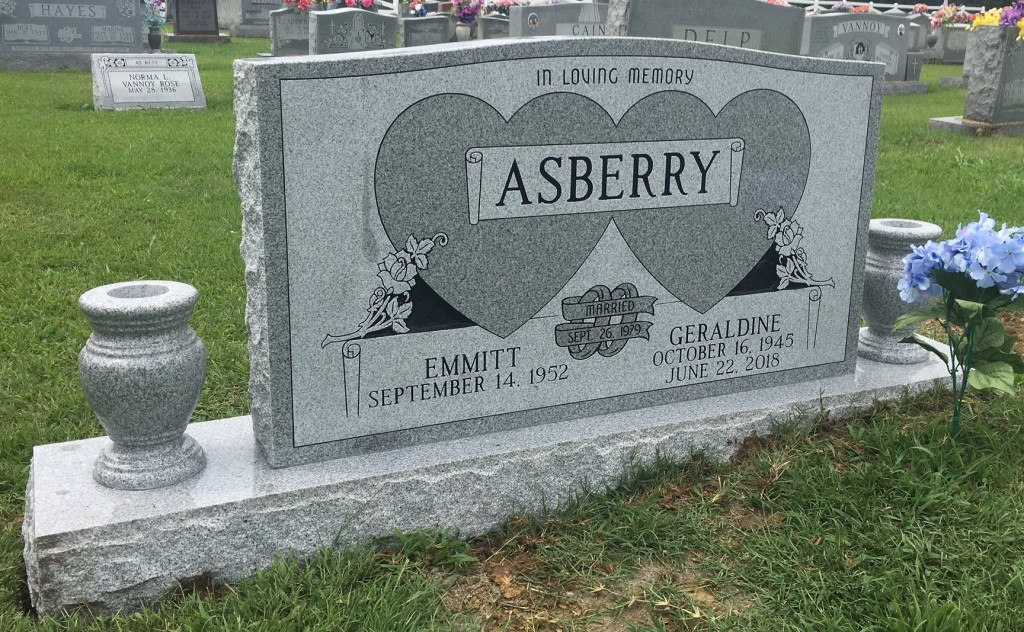 Headstone for Emmitt and Geraldine Asberry