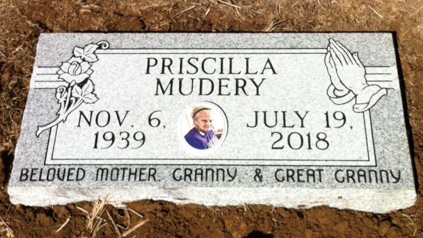 Flat granite marker for Priscilla Mudery