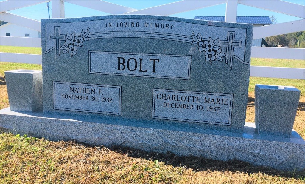 Headstone for Nathen and Charlotte Bolt