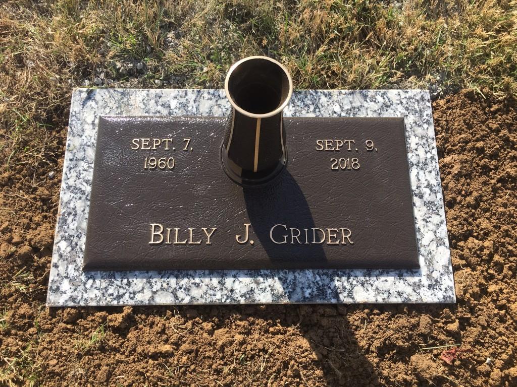 Bronze Marker for Billy J. Grider