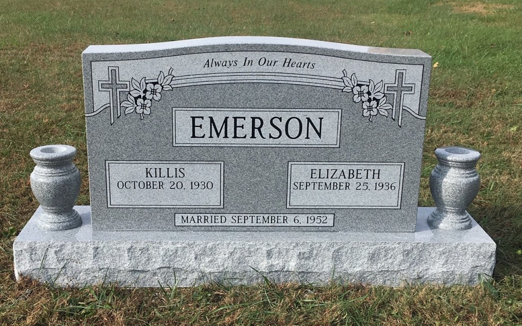 Headstone for Killis and Elizabeth Emerson