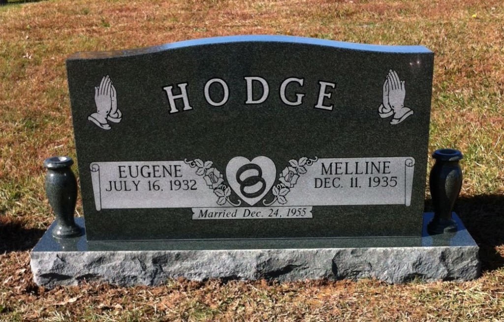 Headstone for Eugene and Melline Hodge
