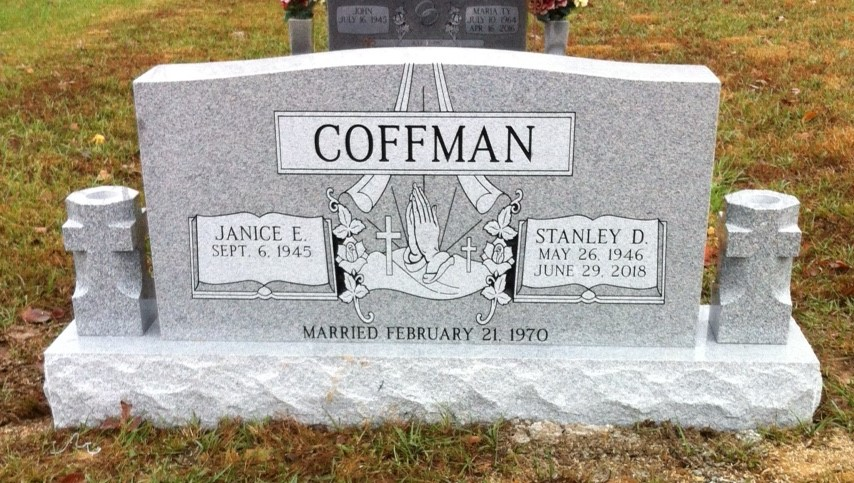 Headstone for Stanley and Janice Coffman