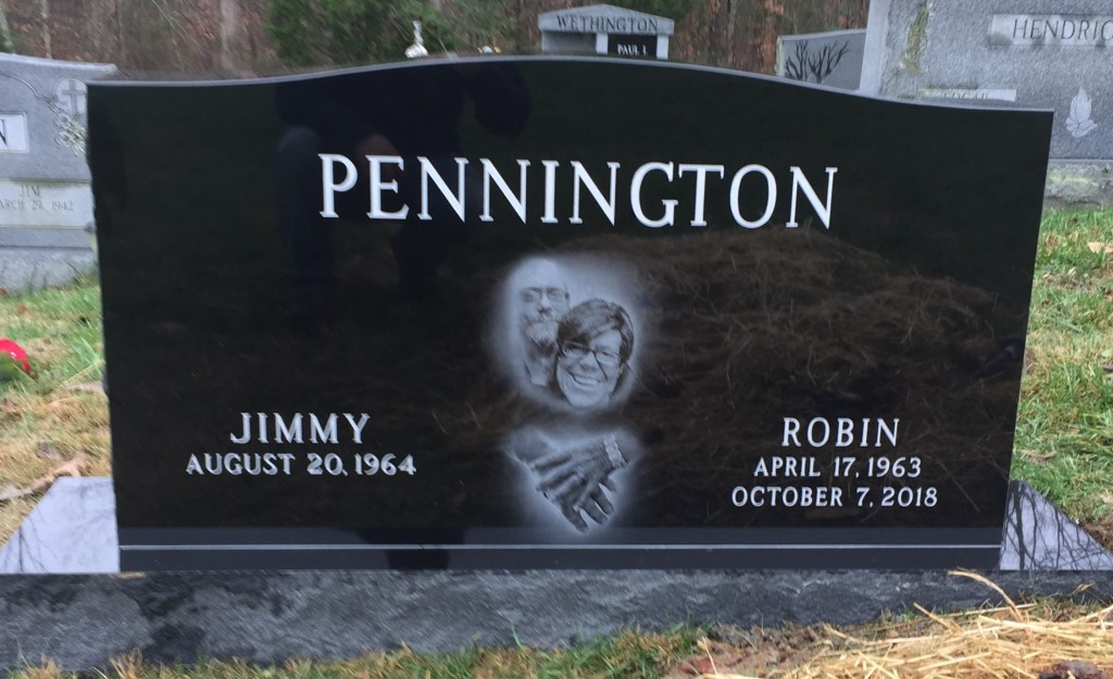 Headstone for Jimmy and Robin Pennington