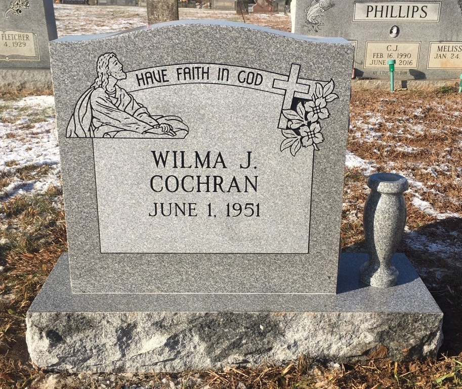 Headstone for Wilma Cochran