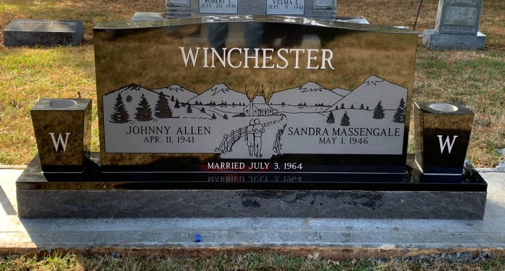 Headstone for Johnny and Sandra Winchester