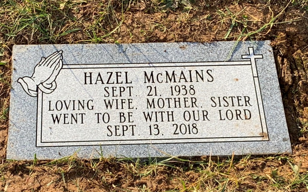 Flat marker for Hazel McMains
