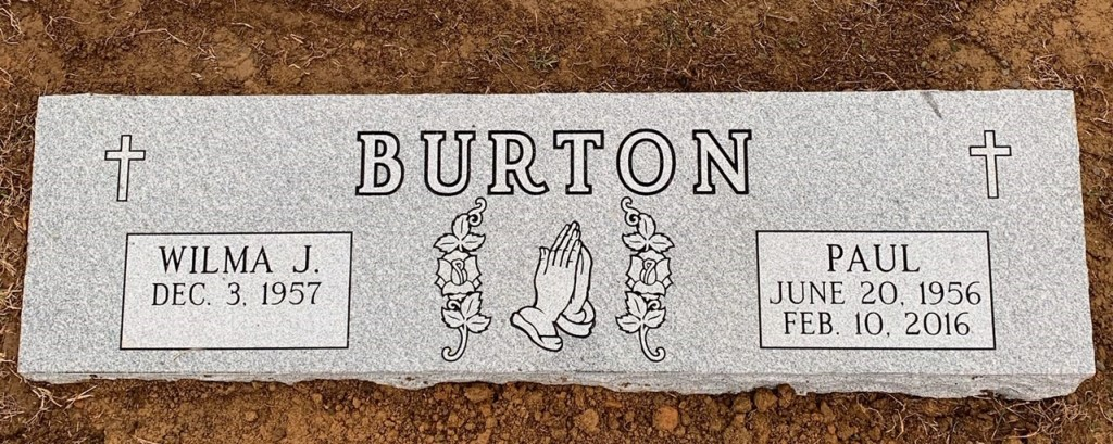 Bevel marker for Paul and Wilma Burton