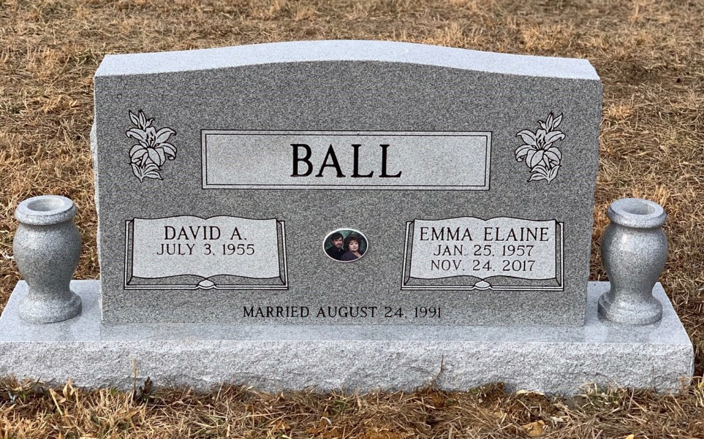 Headstone for David and Emma Elaine Ball