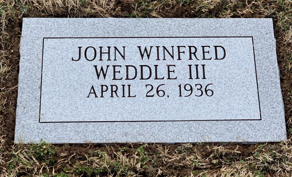 Flat marker for John Winfred Weddle III