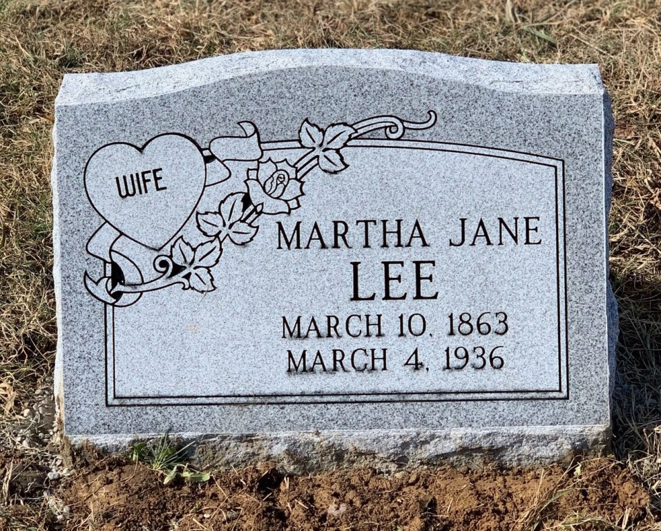 Slant marker for Martha Jane Lee