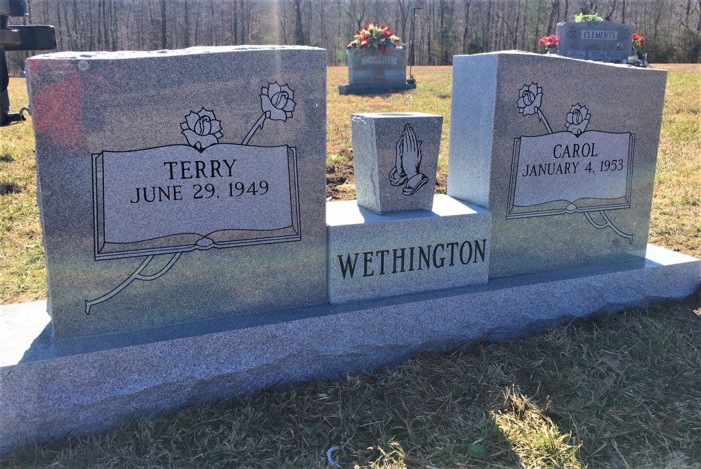 Headstone for Terry and Carol Wethington