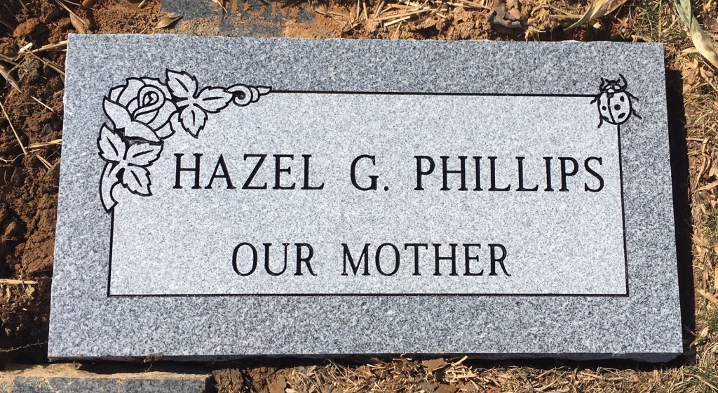 Flat granite marker for Hazel Phillips