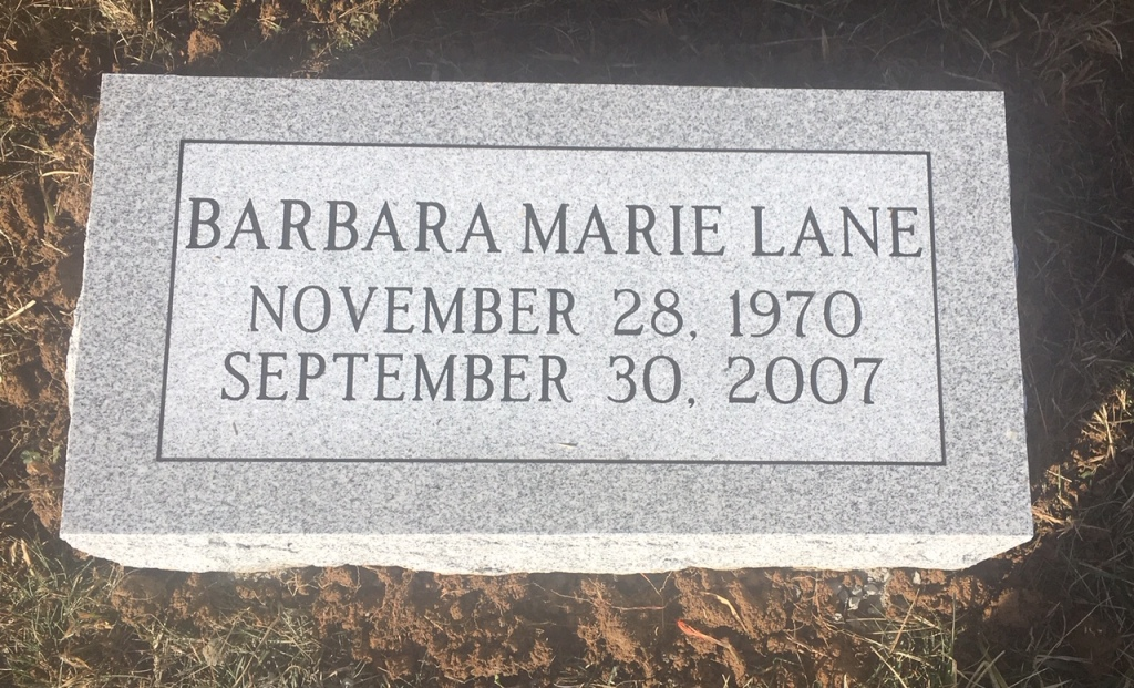 Bevel marker for Barbara Marie Lane