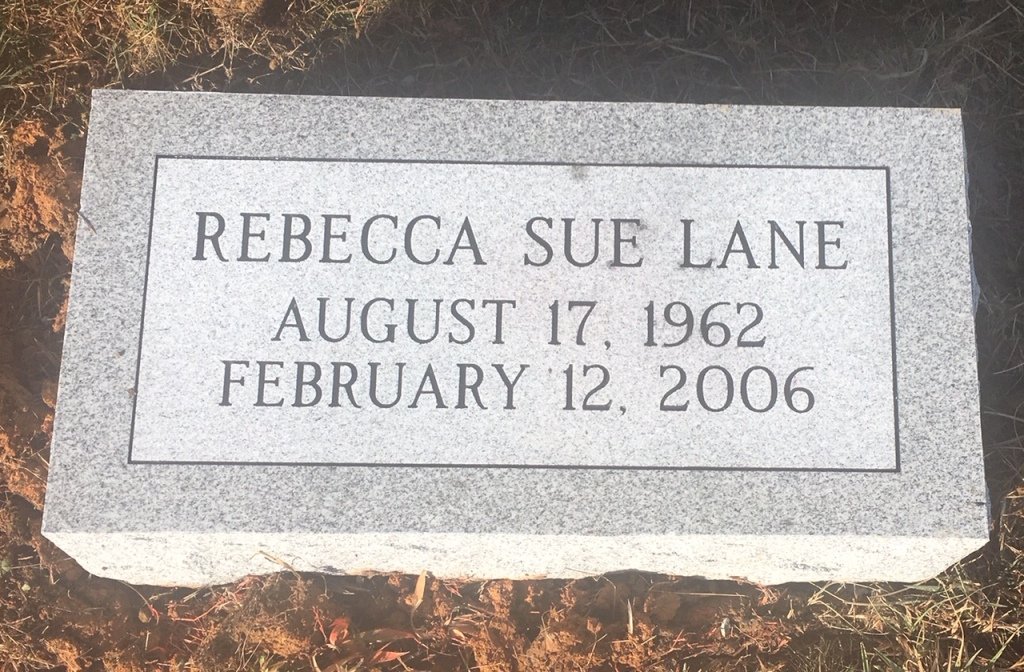 Bevel marker for Rebecca Sue Lane