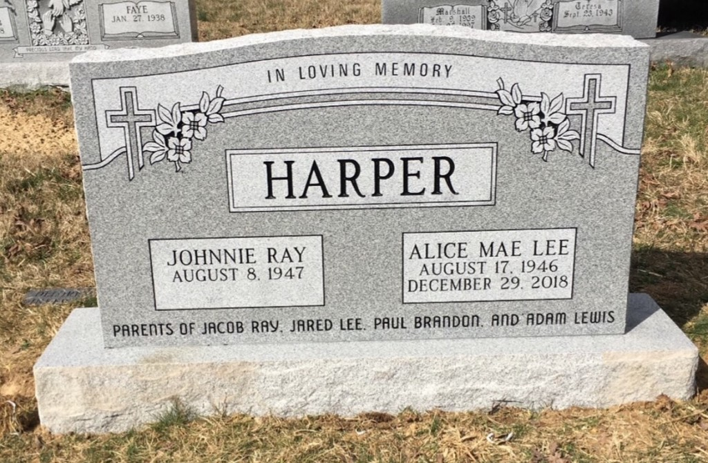 Headstone for Johnnie and Alice Harper