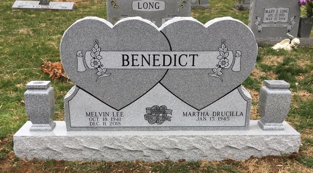 Headstone for Melvin and Drucilla Benedict