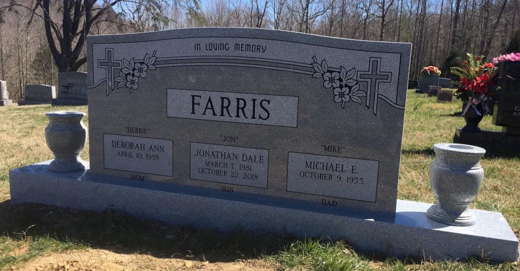 Front of Farris triple headstone