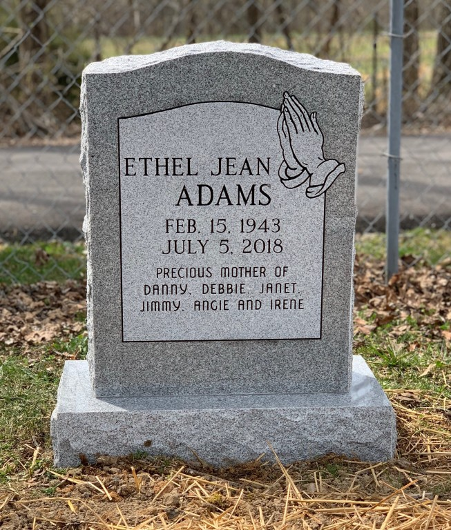 Headstone for Ethel Jean Adams