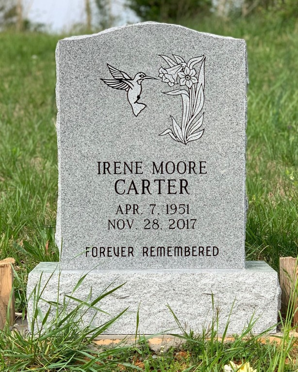 Headstone for Irene Moore Carter