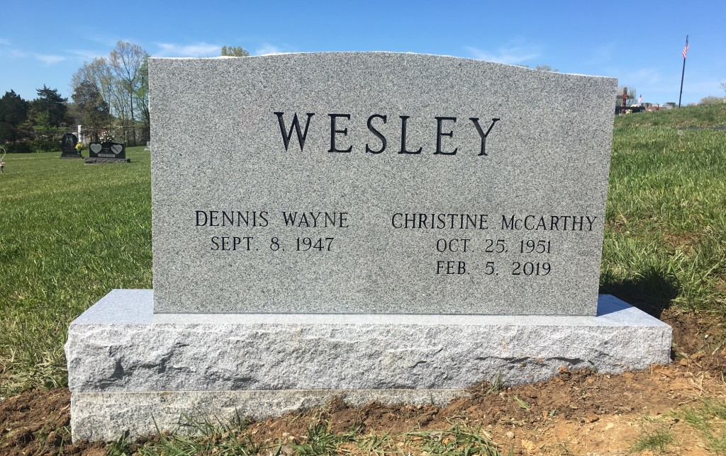 Headstone for Dennis and Christine Wesley