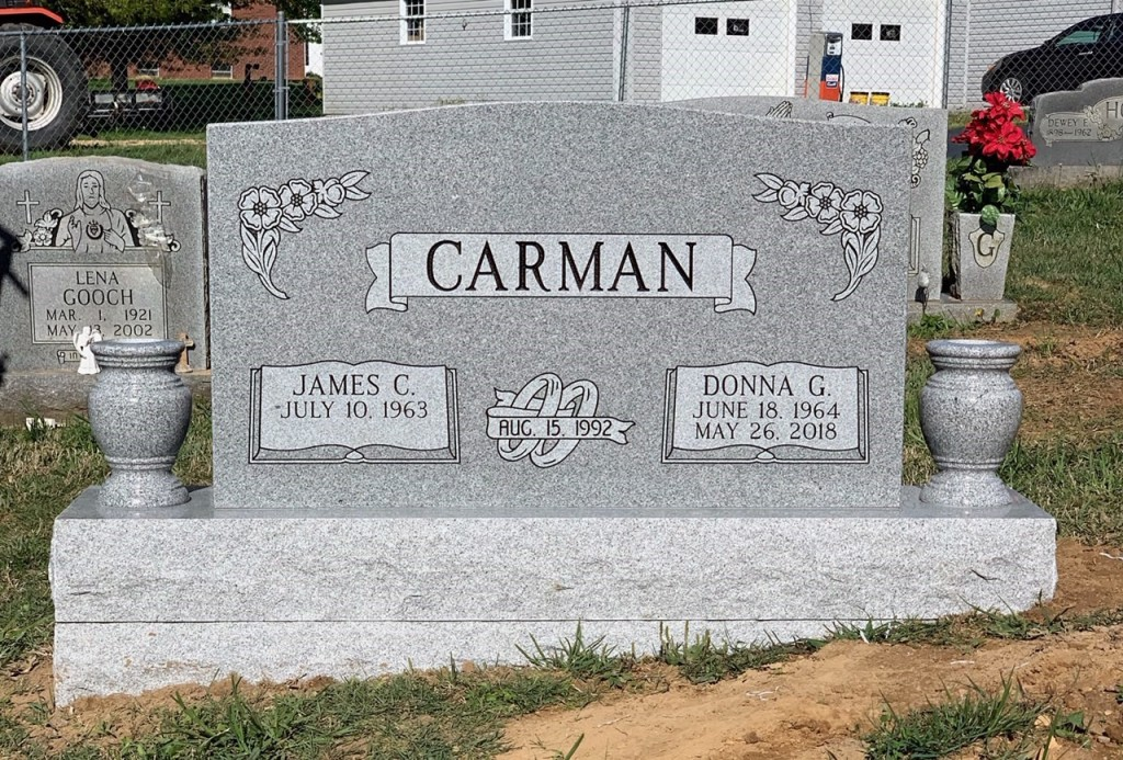Headstone for James and Donna Carman