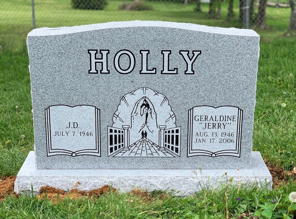 Headstone for JD and Geraldine Holly