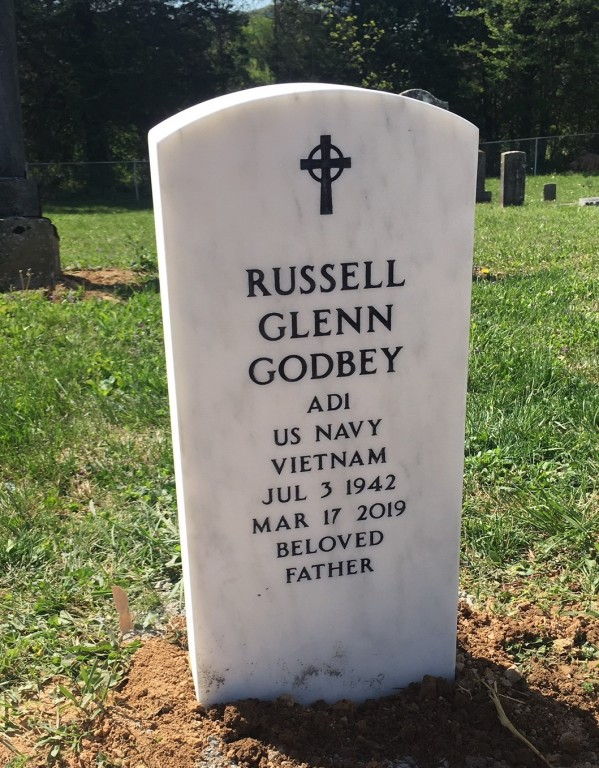 Upright Veteran's Headstone for Russell Glenn Godbey