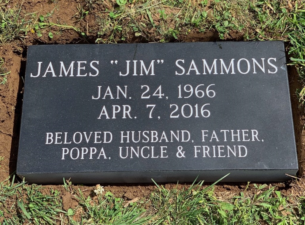 Flat granite marker for James Sammons